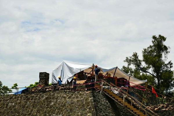 Las obras se llevan a cabo en la subestructura dentro de la pirámide de Teopanzolco en Cuernavaca, Estado de Morelos, México. Foto: AFP