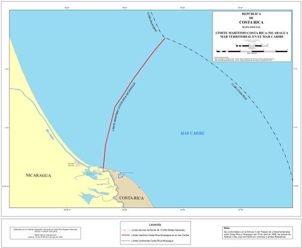 Este es el mapa oficial para el mar territorial costarricense en el mar Caribe. Cartografía elaborada por el Instituto Geográfico Nacional.
