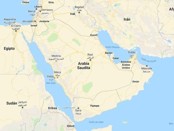 Mapa de Arabia Saudí.