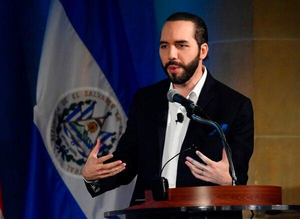 El presidente de El Salvador, Nayib Bukele, participó en una conferencia de prensa, el 1.° de octubre del 2019, en Washington. Foto: AFP