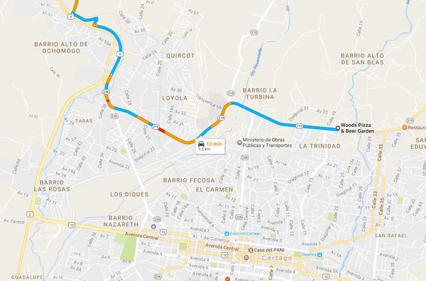 Si viene de San José, esta es la dirección para llegar a Woods que se toma después de bajar Ochomogo, en sentido hacia el volcán Irazú.