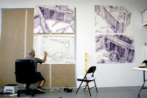 El cubano Jairo Alfonso presenta 14 dibujos en papel con lápiz de acuarela. Art Flow para LN