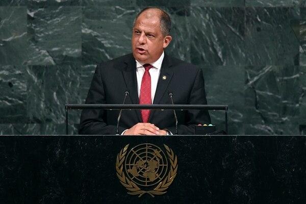 Presidente Luis Guillermo Solís durante frente al ante la Asamblea General de la Organización de Naciones Unidas en Nueva York.