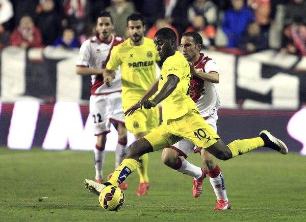 El delantero del Villarreal Joel Campbell durante el partido de la vigésimo tercera jornada de Liga de Primera División.