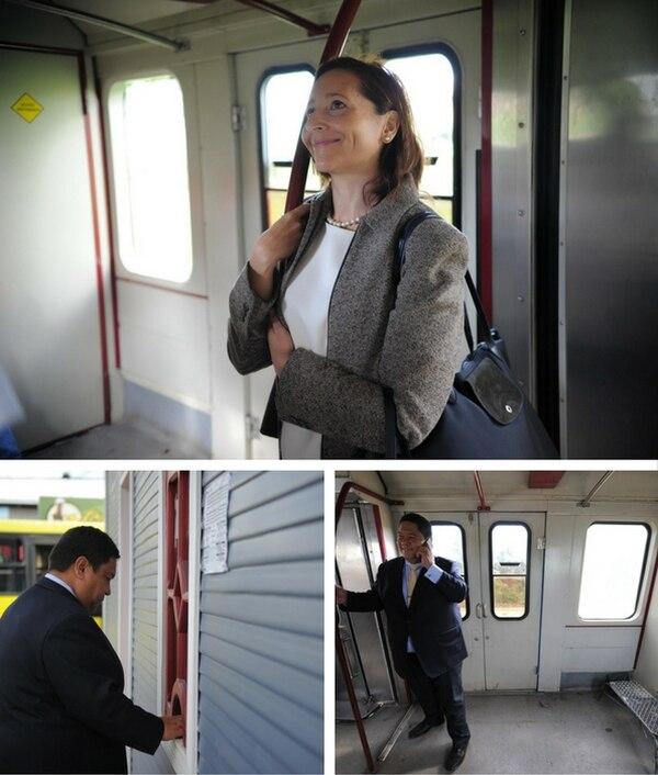 Carolina Mauri, ministra de Deportes, y Carlos Villata, ministro de Obras Públicas y Transportes utilizaron el tren para transportarse este jueves.
