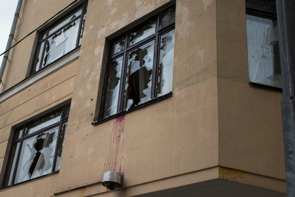 Los manifestantes rompieron algunas ventanas