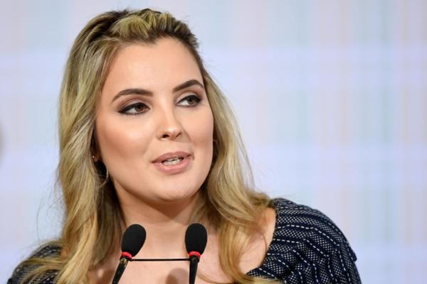 La Primera Dama de Brasil, Marcela Temer, pronunció un discurso durante el lanzamiento del Programa Nacional de Voluntarios, el 28 de agosto de 2017,