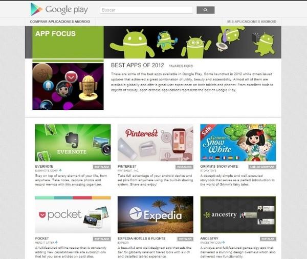Evernote y Pinterest son algunas de las mejores 'apps' de Android.   GOOGLE PLAY PARA LN.