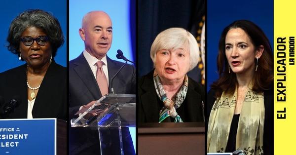 Desde la izquierda: Linda Thomas-Greenfield, Janet Yellen, Alejandro Mayorkas, Avril Haines. Fotos: AFP.
