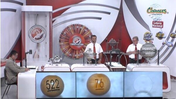 El 76 fue el primer premio durante los chances de este martes y también fue el mayor en la lotería del domingo. Foto: Captura de video de sorteo del martes 7 de enero del 2020.