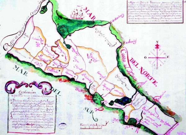 Esta mapa de 1787 muestra las poblaciones productoras de tabaco en el Reino de Guatemala. | FUENTE: ARCHIVO GENERAL DE INDIAS, MAPAS Y PLANOS, GUATEMALA, 309.