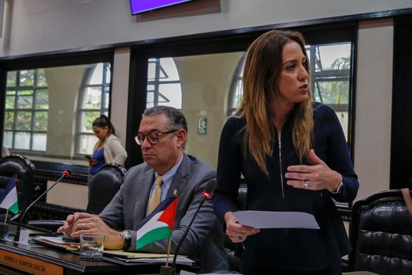 Karine Niño, coordinadora de la mesa legislativa de trabajo sobre el FCL. A la izquierda, su compañero Roberto Thompson. Foto: Mayela López