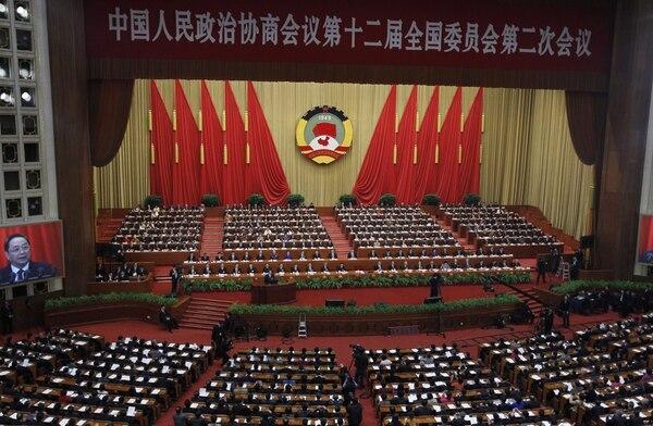 Vista general de la inauguración de la 12ª edición de la Conferencia Consultiva Política del Pueblo chino, Pekín, este lunes.