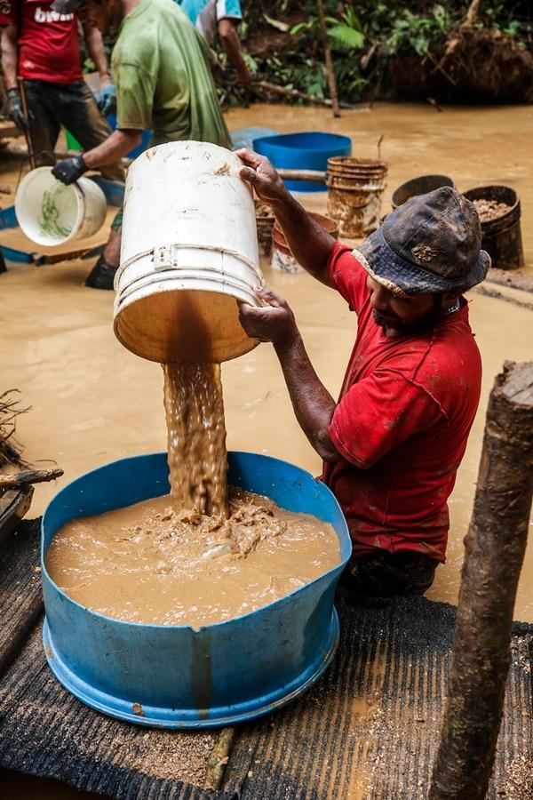 Los coligalleros se organizan en equipos para encarar el duro trabajo que implica tratar de sacarle el oro al cerro Botija, en la finca Vivoyet, en Crucitas de Cutris, la cual perteneció a Industrias Infinito. | ADRIÁN SOTO