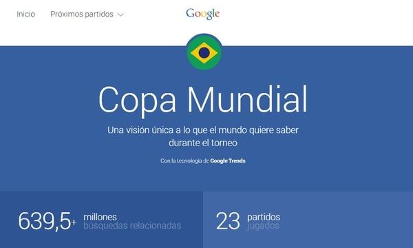 La portada de Google Trends sobre el Mundial Brasil 2014.