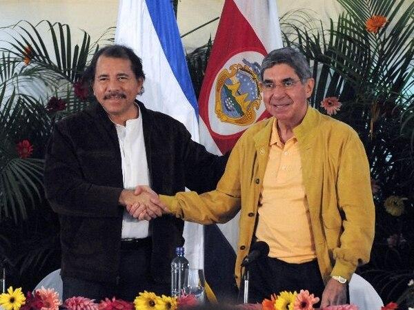 Tras dos años de retraso, Óscar Arias y Daniel Ortega celebraron en Managua, el 14 de marzo del 2008, la VI Comisión Bilateral. | AFP