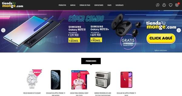 Las empresas ofrecen la gran mayoría de productos que disponen en diversas categorías y se enfocan, como en el caso de Monge, en las novedades en electrónica de consumo. (Imagen reproducción GN)