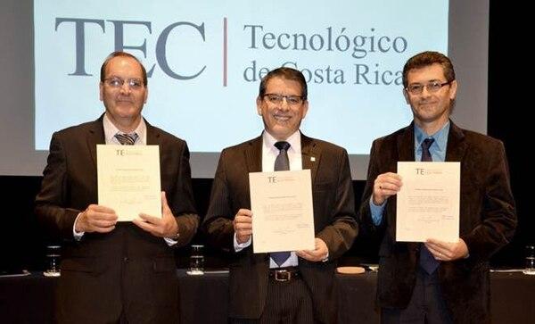 Candidatos a Rectoría TEC: en el orden usual, Celso Vargas, Julio Calvo, y Dagoberto Arias.