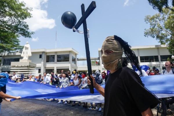 En la Universidad Centroamericana, en Managua, un grupo de estudiantes exigió al gobierno de Ortega -este martes 18 de junio del 2019- la liberación de personas detenidas.