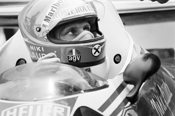 (FILES) In this file photo taken on May 27, 1976 Austrian Formula One driver and World champion Niki Lauda sits in his Ferrari on Monaco race track during a training session of the 34th Monaco Formula One Grand Prix. - Legendary Formula One driver Niki Lauda has died at the age of 70, his family said in a statement released to Austrian media on May 21, 2019. (Photo by - / AFP)