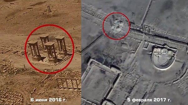 Un video grabado por un dron ruso muestra daños en uno de los monumentos de la ciudad antigua de Palmira, Siria, acusados por el Estado Islámico.