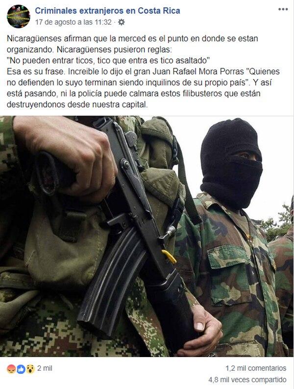 Una de las informaciones sin fundamento que se compartieron previo al movimiento hacia referencia a que los costarricenses se les estaba prohibiendo pasar por el parque La Merced. Fotografía: Reproducción.