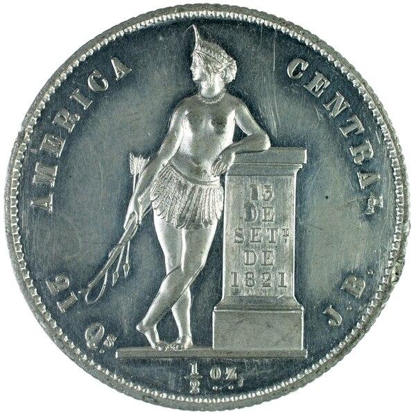 Moneda de media onza de 1850.