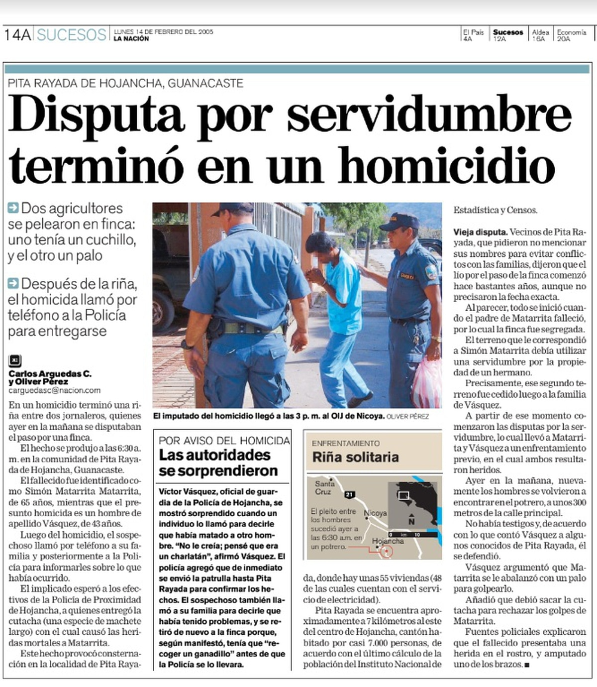 Publicación de La Nación del 14 de febrero de 2005 sobre el último homicidio que se presentó en Hojancha.