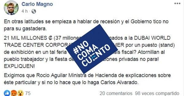 Publicación de Facebook que reproduce las cifras erróneas divulgadas por Albino Vargas. Foto: Reproducción.