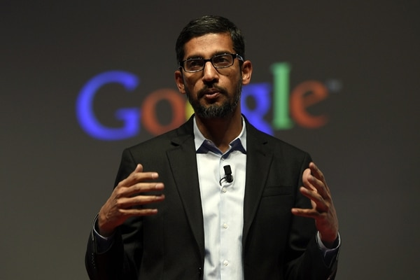 Google's Senior Vice President Sundar Pichai gives a keynote address during the opening day of the 2015 Mobile World Congress (MWC) in Barcelona on March 2, 2015. Phone makers will seek to seduce new buyers with even smarter Internet-connected watches and other wireless gadgets as they wrestle for dominance at the world's biggest mobile fair starting today. AFP PHOTO / JOSEP LAGO