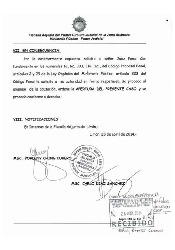 Esta es la copia de una página en el documento acusatorio en el caso de Jairo Mora elaborado por la fiscala Ching y que fue muy criticado por los jueces.