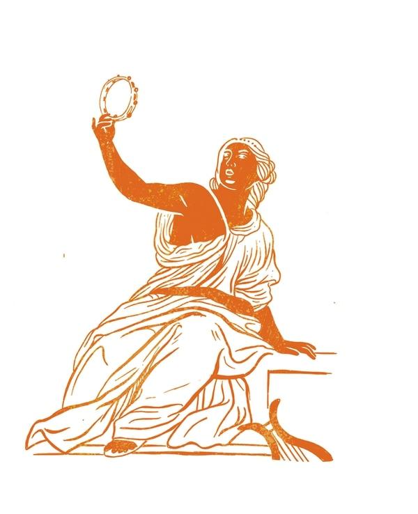 Erato, musa de la poesía. Ilustración: Juan Carlos Alpízar.