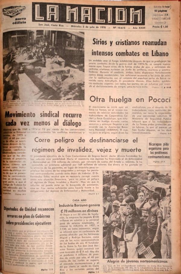 Portada de La Nación del 5 de julio del 1978.
