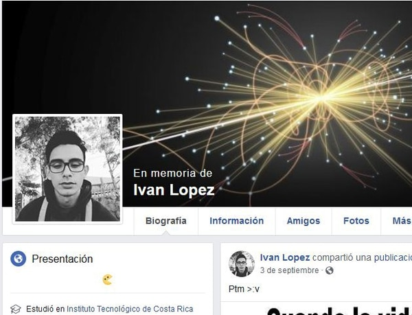 Iván Moisés López Saborío, era vecino de Calle Valverde en San Josecito de Alajuelita y estudiaba en el ITCR en Cartago. Foto tomada de Facebook