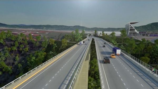Así se verán en unos dos años los puentes paralelos sobre el río Virillo, en la carretera a Limón, cerca del estadio Saprissa.   CORTESÍA MOPT