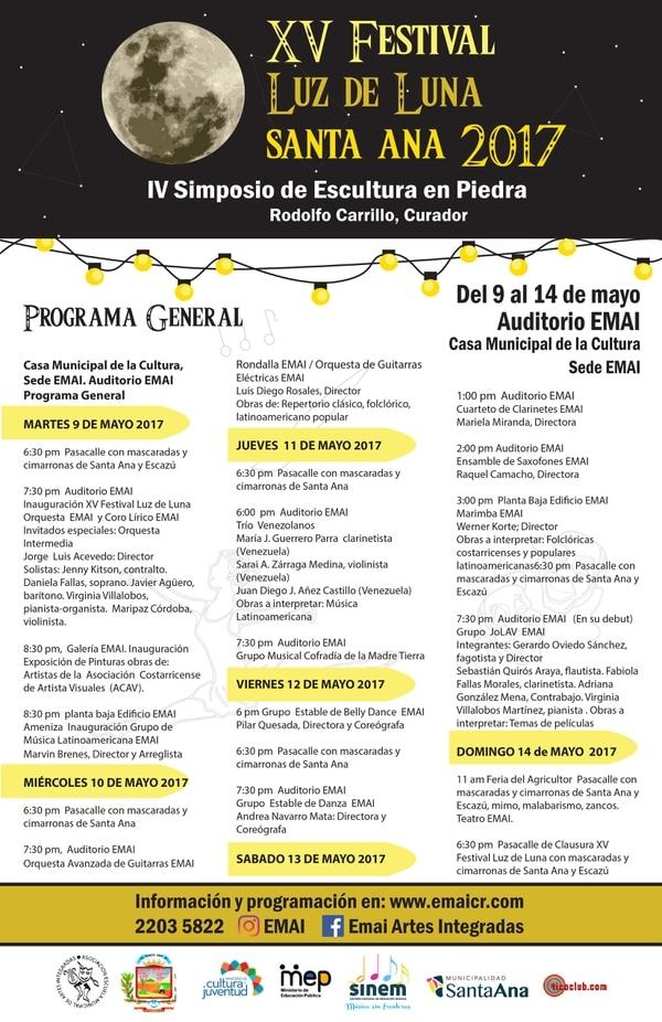 Programación completa del Festival Luz de Luna en Santa Ana.