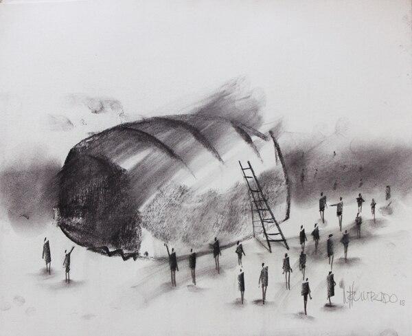 Es es uno de los 21 dibujos que Manuel Zumbado creó para acompañar los textos de Marjorie Ross. Foto: Cortesía de la Euned.