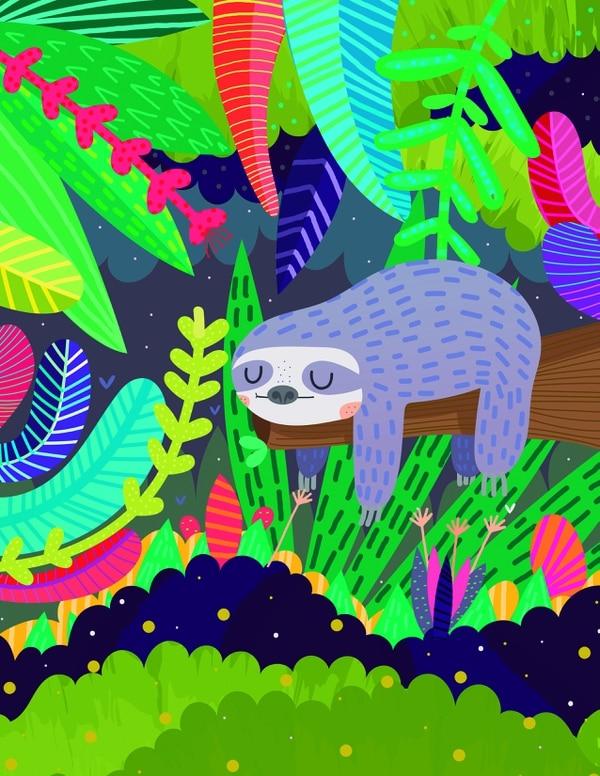 Perezoso en la naturaleza (2017) es una ilustración digital de María José Da Luz. Imagen: Cortesía de María José Da Luz.