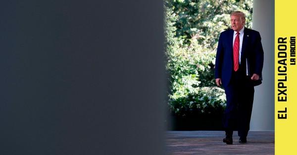 Donald Trump camina por los jardines de la Casa Blanca en julio de 2020. Foto: JIM WATSON / AFP