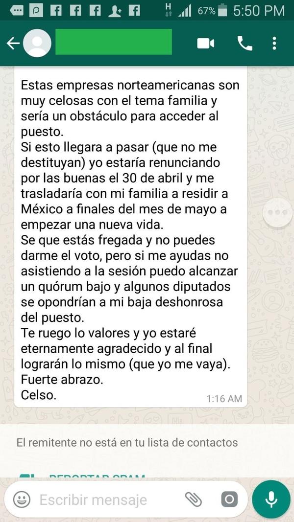 Mensajes enviados por el magistrado suspendido de la Sala III, Celso Gamboa, a la diputada del PAC Marcela Guerrero. Reproducción