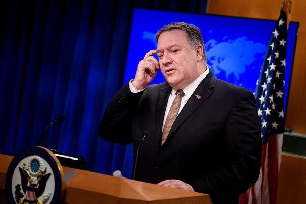 El secretario de Estado norteamericano, Mike Pompeo, en la conferencia de prensa -este viernes 15 de marzo del 2019- en la cual anunció medidas contra la Corte Penal Internacional (CPI).