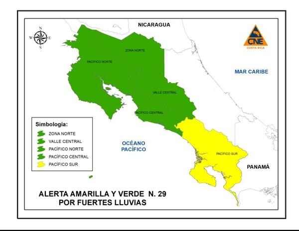 Más de la mitad del territorio está con alertas vigentes ante la posibilidad de más lluvias fuertes esta tarde, principalmente en las zonas más afectadas. Ilustración CNE.