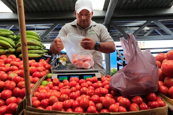 El precio del tomate bajó 50% en febrero del 2021 respecto a enero del mismo año. Wilberth Torres vendió muchos tomates en mayo pasado, en el Mercado Municipal de Cartago. Foto: Rafael Pacheco/Archivo.