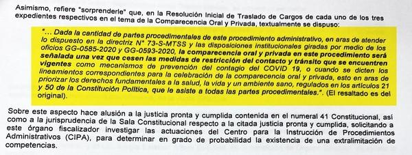 La imagen pertenece al informe emitido por la Auditoría Interna el pasado 10 de febrero en el que consta la dilación del CIPA de las investigaciones relacionadas con la compra de mascarillas