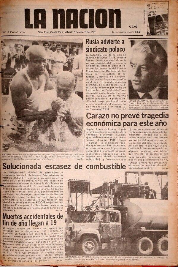 Reproducción de La Nación del 3 de enero de 1981.