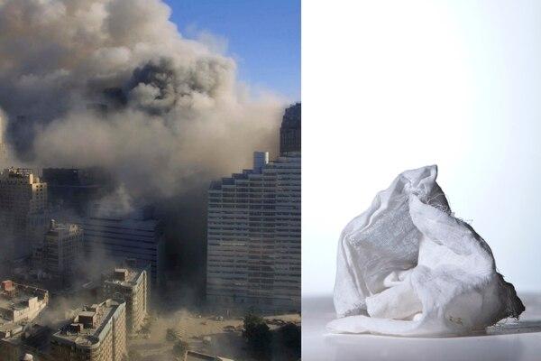 Izquierda: Los ataques del 11 de setiembre son considerados el peor ataque en suelo estadounidense en toda su historia. Derecha: Trozo de tela que utilizó para protegerse del polvo una mujer que logró escapar del sitio de los atentados, en Manhattan.