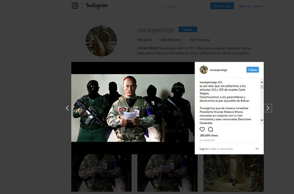 En la red social Instagram Óscar Pérez se refirió al ataque contra la sede del Tribunal Supremo de Justicia en Caracas.