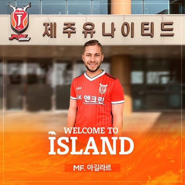 Elías Aguilar llegó al Jeju United a inicios del 2019. Fotografía: Jeju United.
