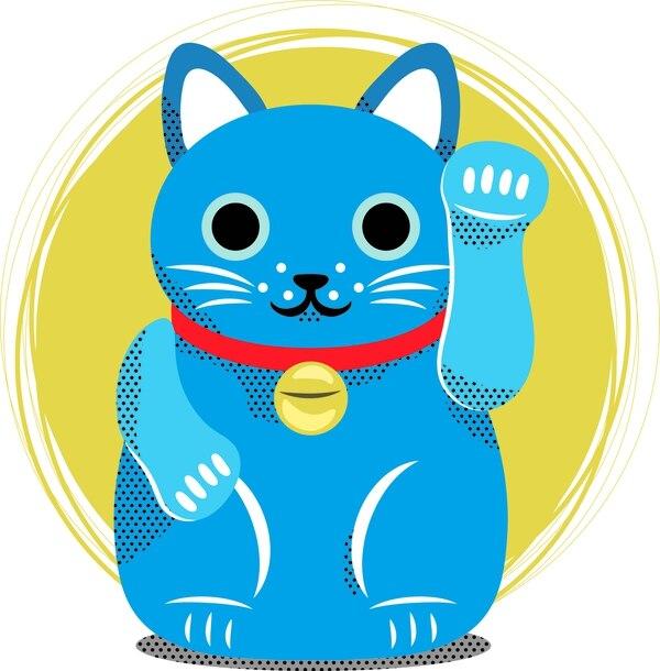 Maneki Neko azul: Para que hagas tus sueños realidad, para que los cumplas. Ilustración: Dominick Proestakis.