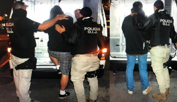 Dos de los tres sospechosos aprehendidos la noche del jueves en el centro de Tres Ríos de La Unión. Foto: OIJ